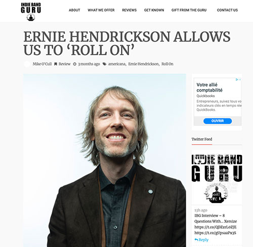 Ernie Hendrickson - Roll On Indie Band Guru Review