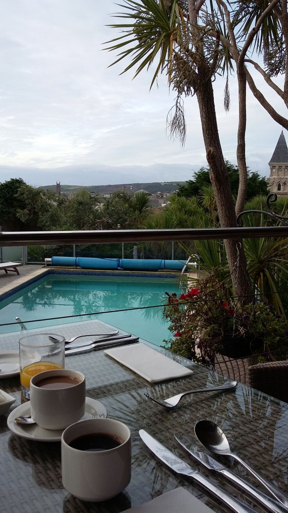 Coffee by the pool at Hotel Penzance