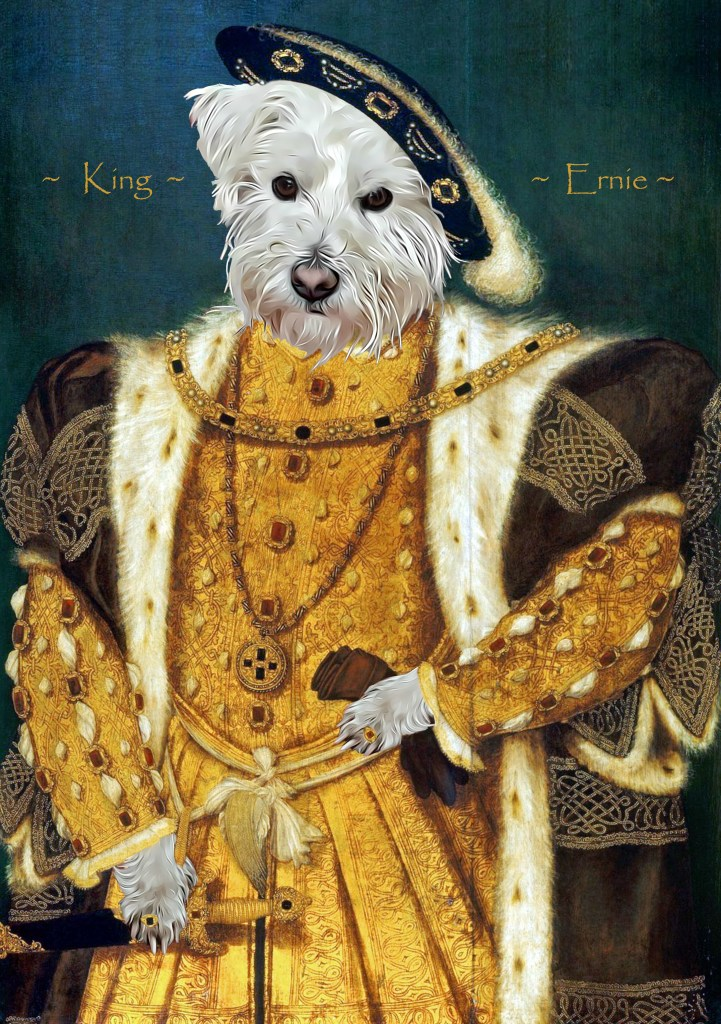 Ernie's portrait from Royal Cats & Dogs showing him dressed as Henry VIII