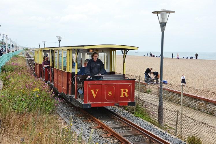 Volks Electric Railway runs alongside the beach in Brighton