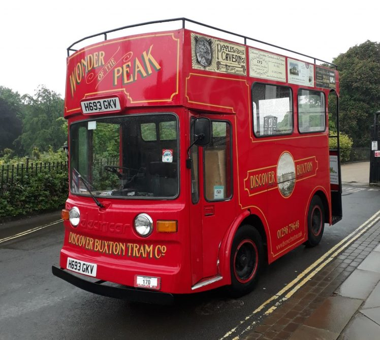 Discover Buxton tram, made from a converted milkfloat