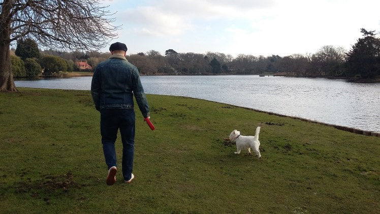 Ernie and Nick walk by the Beaulieu River