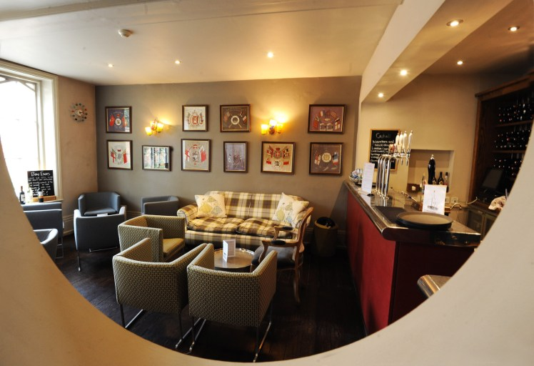 Bar area at the Crown & Castle Orford, as viewed through a mirror