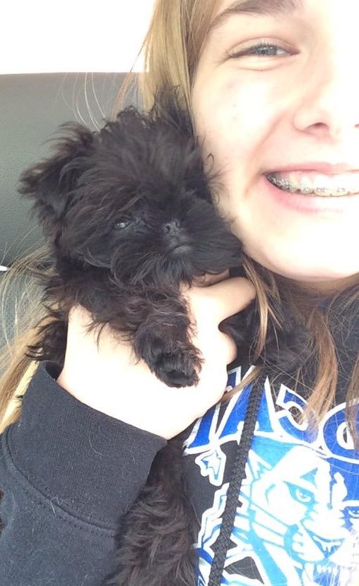 Woman cuddles tiny black puppy