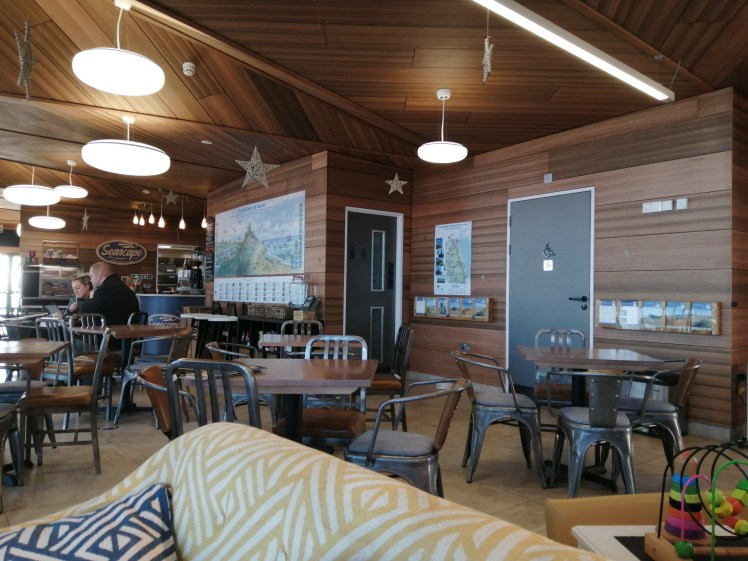 Stylish wooden interior of the Seascape Cafe at the North Sea Observatory