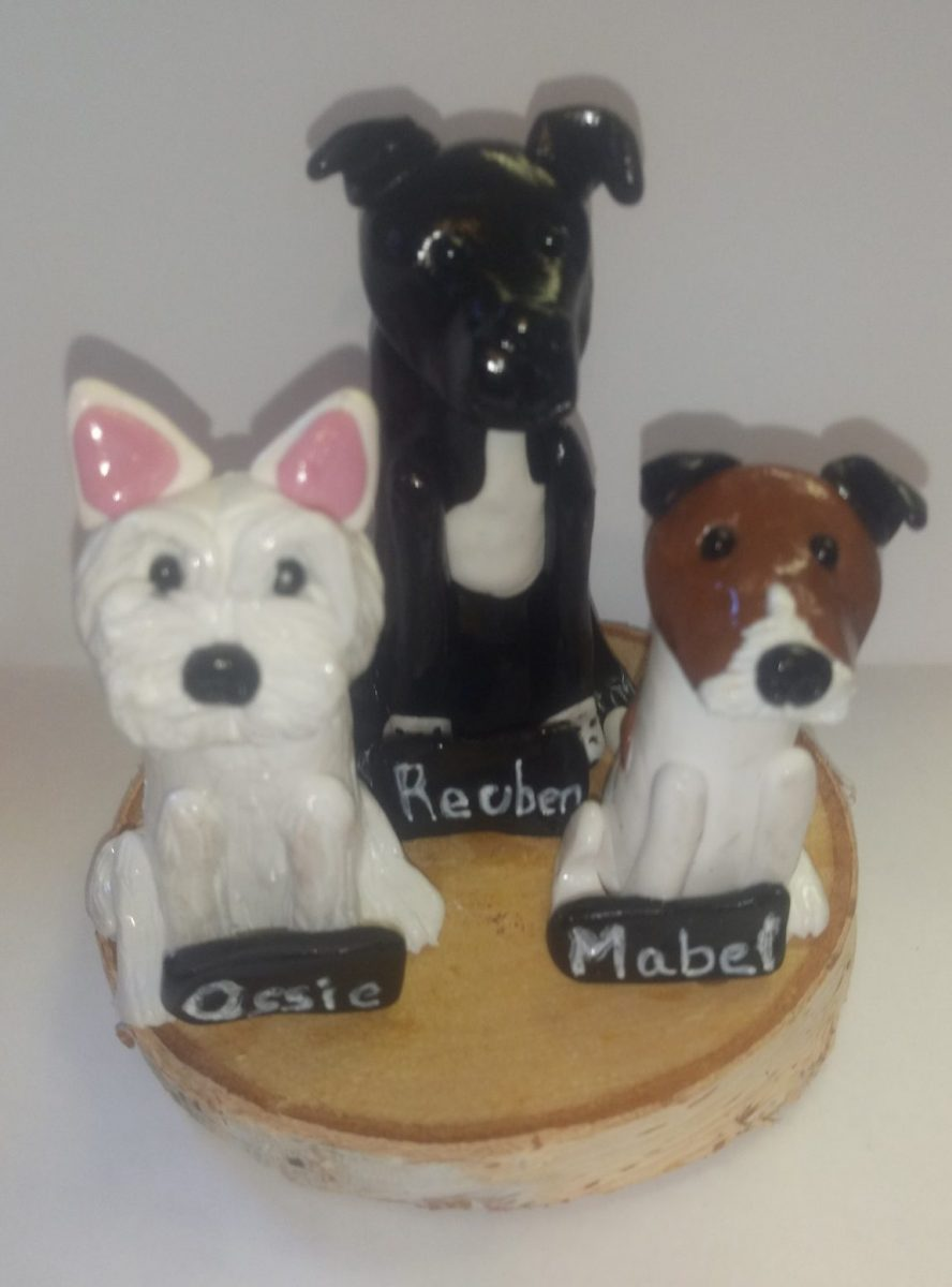 Clay Westie, Jack Russell and Labrador on plinth