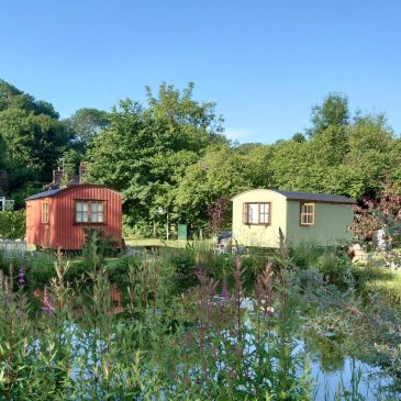 Colourful shepherds huts at The Merry Harriers, Hambledon