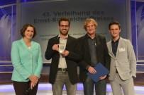 Laudatorin Michaela Kolster (Programmgeschäftsführerin Phoenix), Preisträger Jo Schück, Peter Ruppert und Michael Strompen (ZDF)