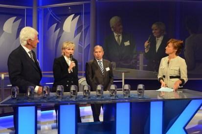 Dr. Walter Richtberg, Vorsitzender des Ernst-Schneider-Preises, MDR-Intendantin Prof. Karola Wille, Leipzigs IHK-Präsident Wolfgang Topf, Moderatorin Maybrit Illner
