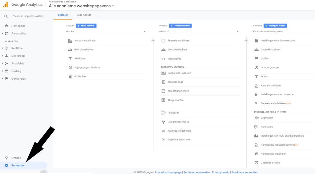Google Analytics beheerder