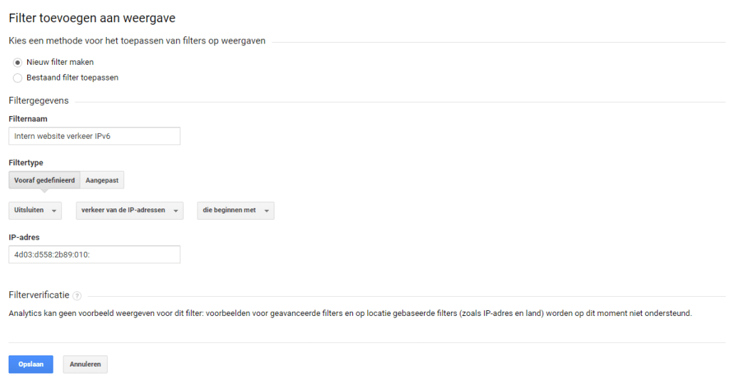 Google Analytics voorbeeld filter