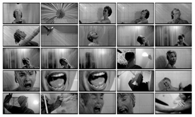 Раскадровка сцены в душе, «Психо» (1960)