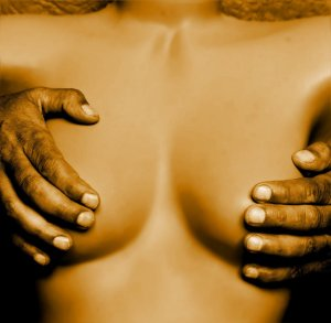 Two rough male hands covering a woman's breasts  Picture by Jan Steiner via Pixabay