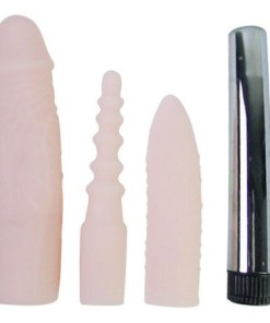 4 lü Penis Kılıfı ve Realistik Vibratör Seti