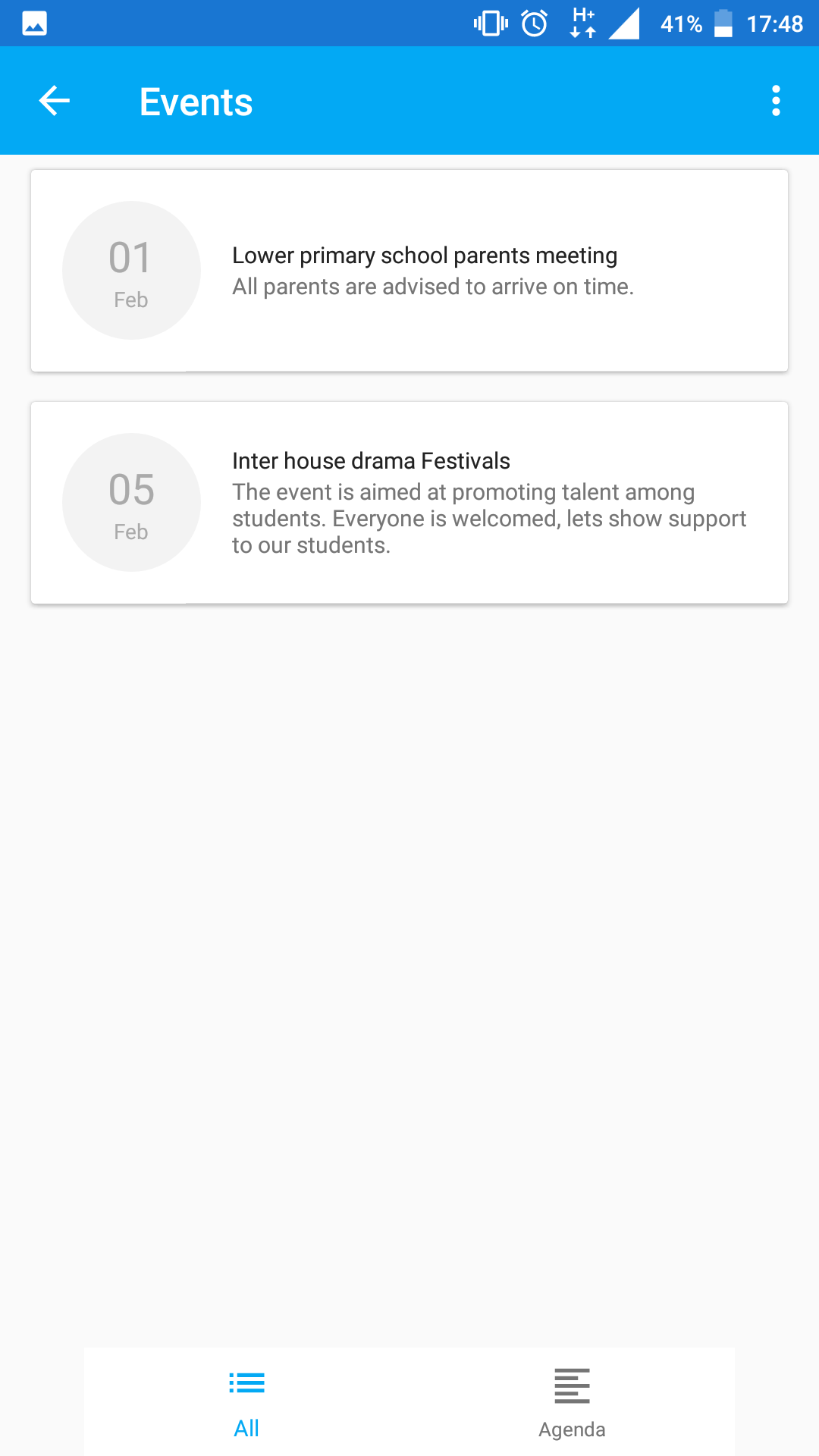 Bunifu Schools Mobile App - Events Listing