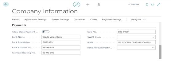 Company Information Payment Tab
