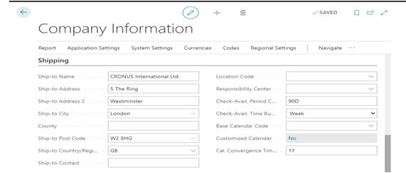 Company Information Shipping Tab