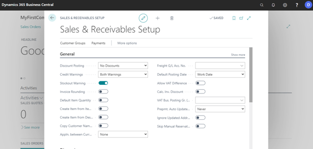 Fill sales and receivable setup in dynamics 365