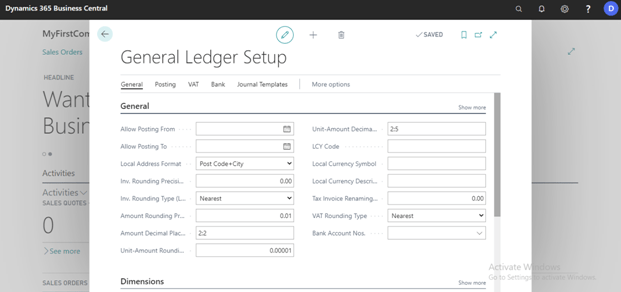 General Ledger Set Up Window Will OPen