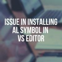Issue in Installing AL Symbol in VS editor