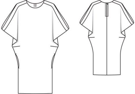 burdastyle-dolman-dress-line-art