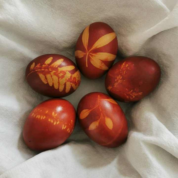 Naturally dyed Easter eggs with onion peels