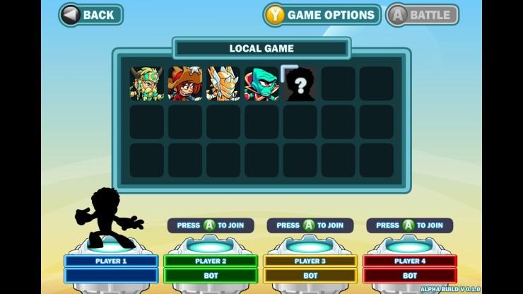 Le menu de lancement d'une partie, faisant penser à un mélange de Super Smash et de MOBA