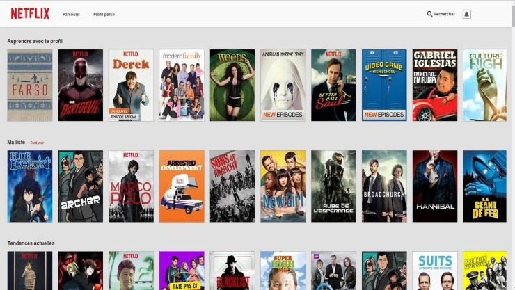 Ecran acceuil Netflix