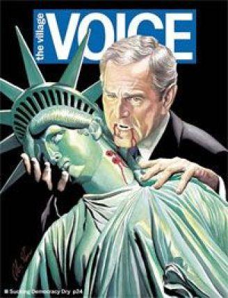 Bush apparaît en vampire suçant le sang de la statue de la liberté