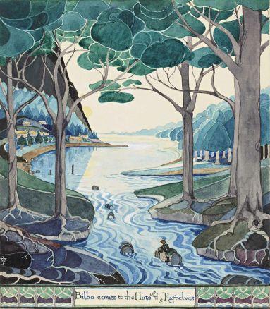 Bilbo couché sur un tonneau flottant sur un fleuve entouré d'arbres