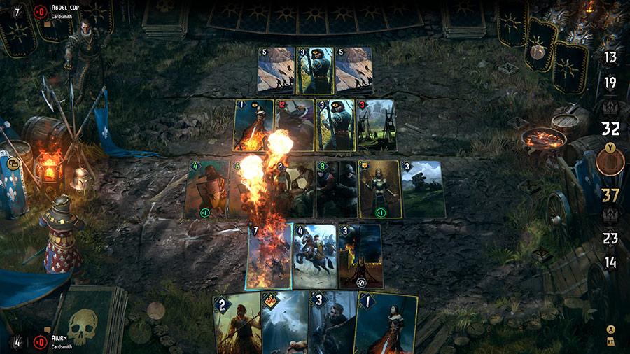 Gwent -pelikenttä PC:llä ja konsoleilla.