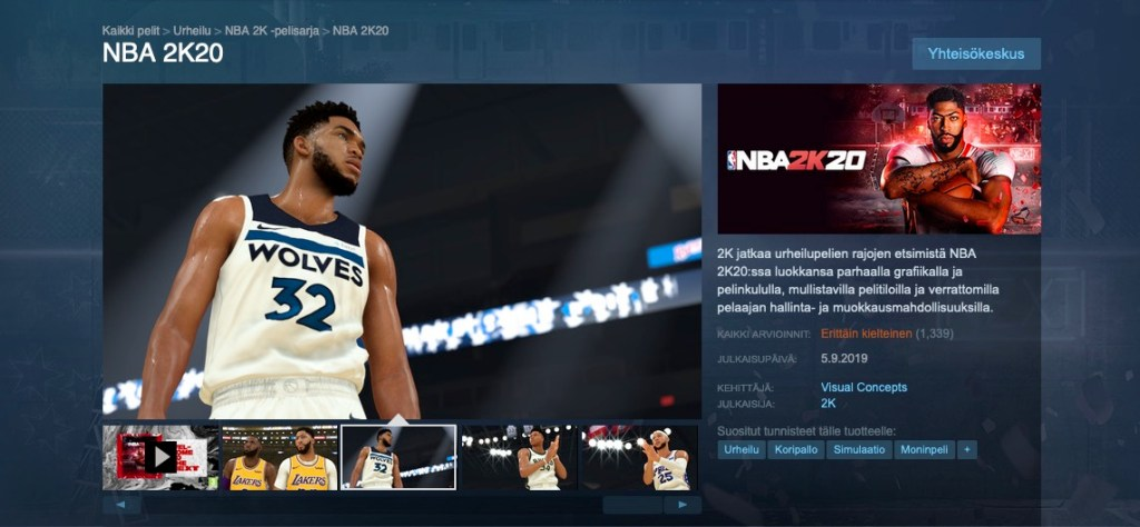 NBA 2K20 -pelillä on tällä hetkellä Steam palvelussa erittäin kielteiset arvosanat