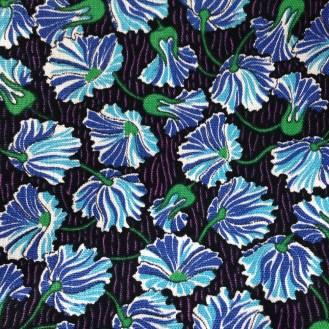 feste Webware aus Baumwolle mit blauen Blumen