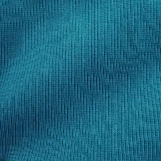 blaugrünes Ripp-Bündchen aus 95% Bio-Baumwolle & 5% Elastan