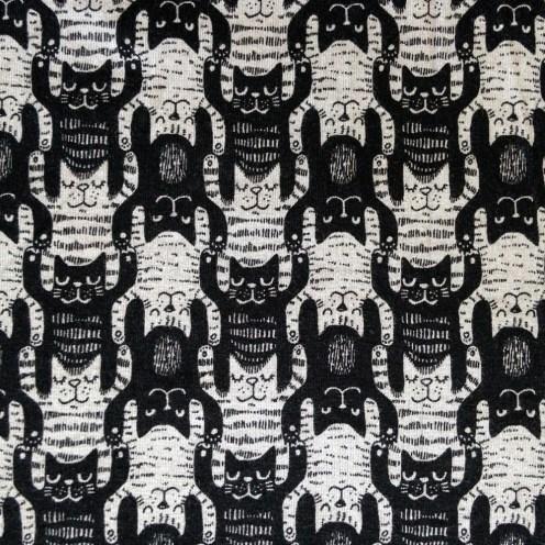 Baumwolljersey mit Elastan schwarz/grau Katzentritt