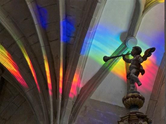 Church art made from solar spectrum rainbow light