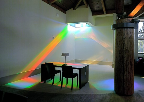 Reading room showing solar spectrum colors of library rainbow art installation, www.ErskineSolarArt.net
