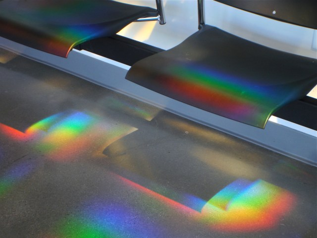 Light and space art installation seating in a police station. Erskine Solar Art