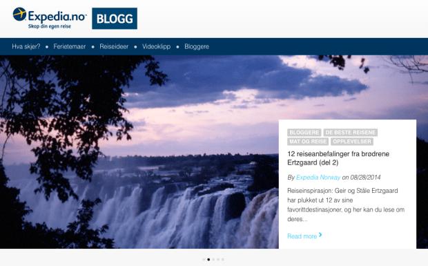 Hovedoppslag på Expedia-bloggen. Faximilie fra blogg.expedia.no