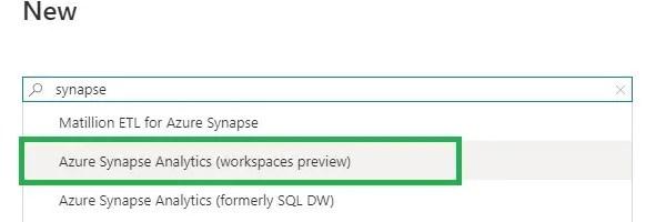 Select Azure Synpase Analytics Workspace