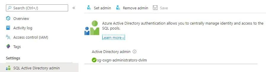 SQL Active Directory admin