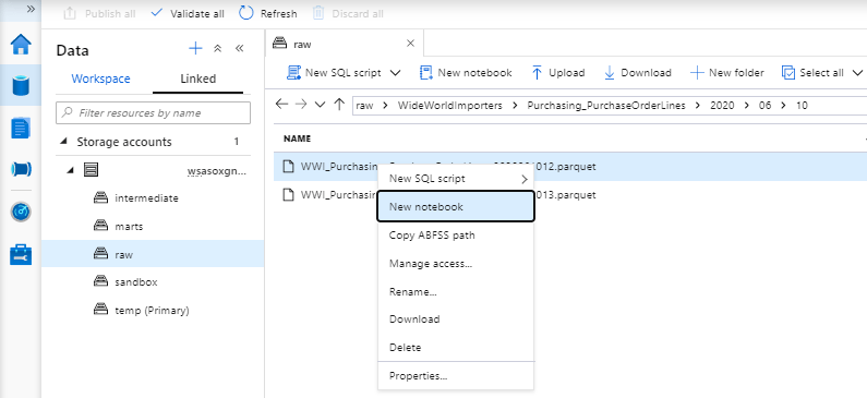 Azure Synapse Analytics Data Tab Linked to Browse Files
