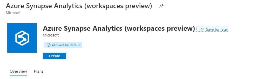 Create Azure Synpase Analytics Workspace