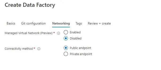Create Azure Data Factory Networking