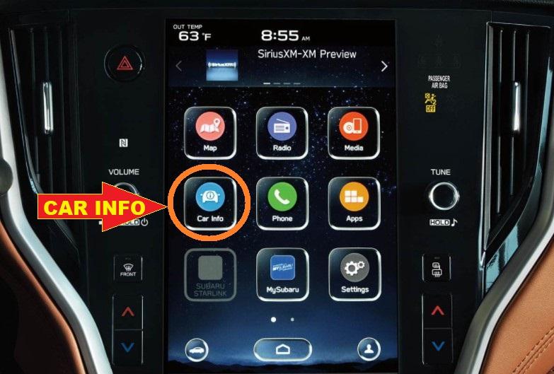 Subaru-Legacy-Oil-Reset-press-the-CAR-INFO-info-in-multimedia-navigation-system