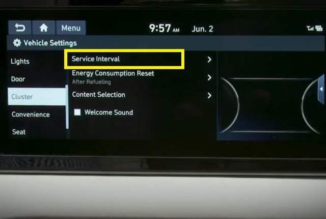 Hyundai sonata Oil Reset - service interval