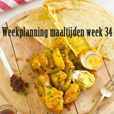 Weekplanning maaltijden week 34