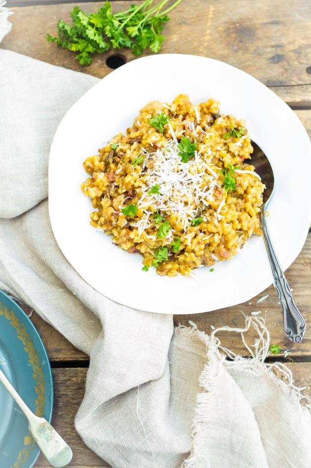 Recept risotto met bacon en eekhoorntjesbrood