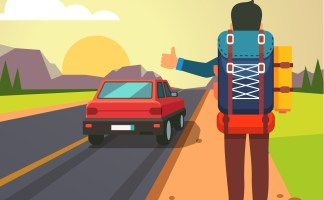 Hitchhiking road travel. Man with a big backpack stopped a ride by thumbing. Flat style vector illustration.