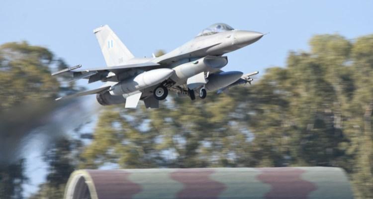 F-16 Fighting Falcon de la Fuerza Aérea Helénica del Ala de Combate 116 de la base aérea Araxos